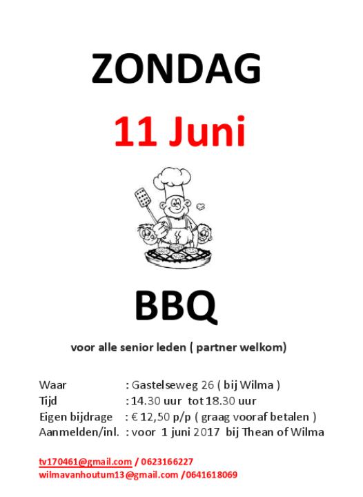 Noteer alvast in je agenda, 11 juni barbecue