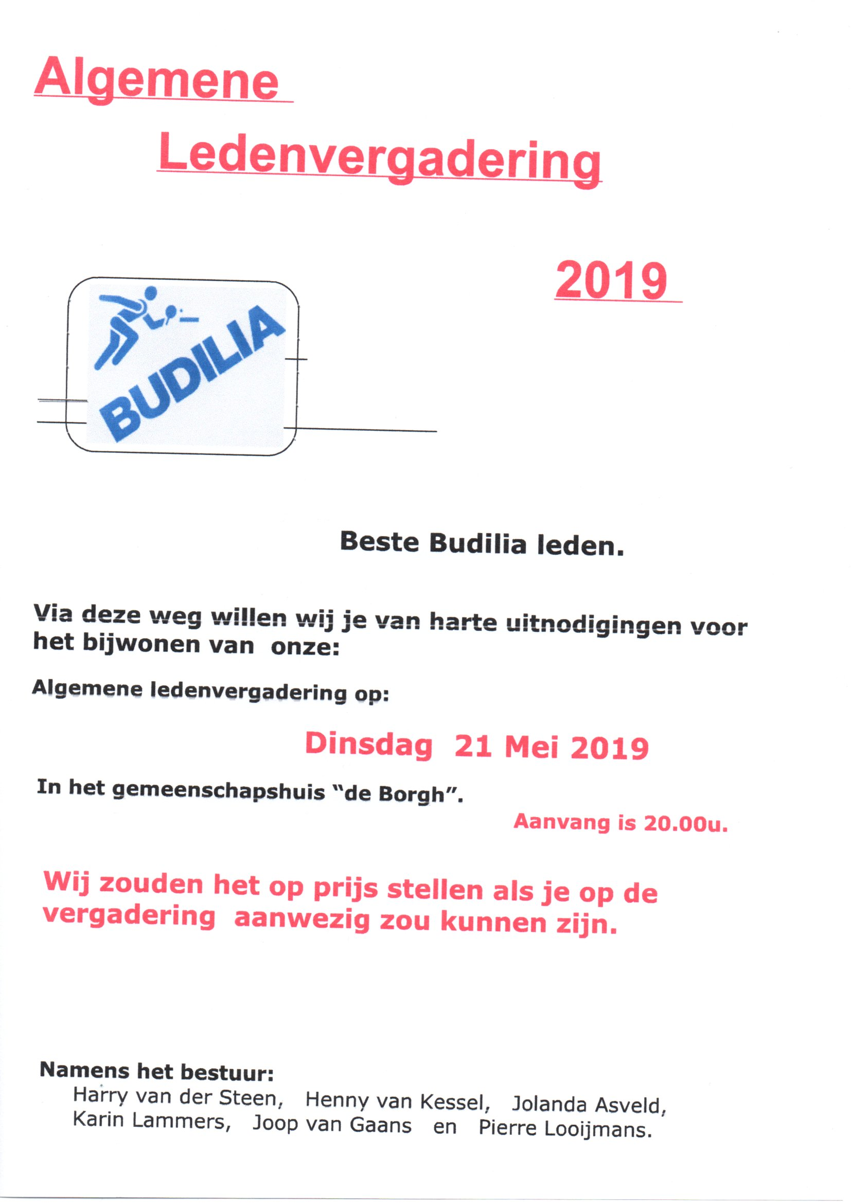 Uitnodiging Jaarvergadering 21 mei 2019